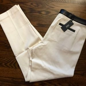 Tibi Leather Trim Tuxedo Pants
